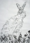 Spring in the Air (brown hare at Otmoor) Rahima Kenner, Etching 41.5 x 30.5cm
